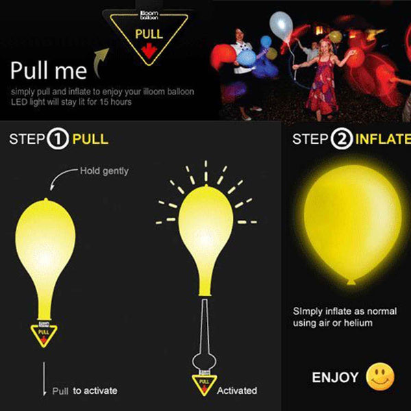 LED Balloons for Party Festival Celebrations (Set of 25) - Chirukaanuka