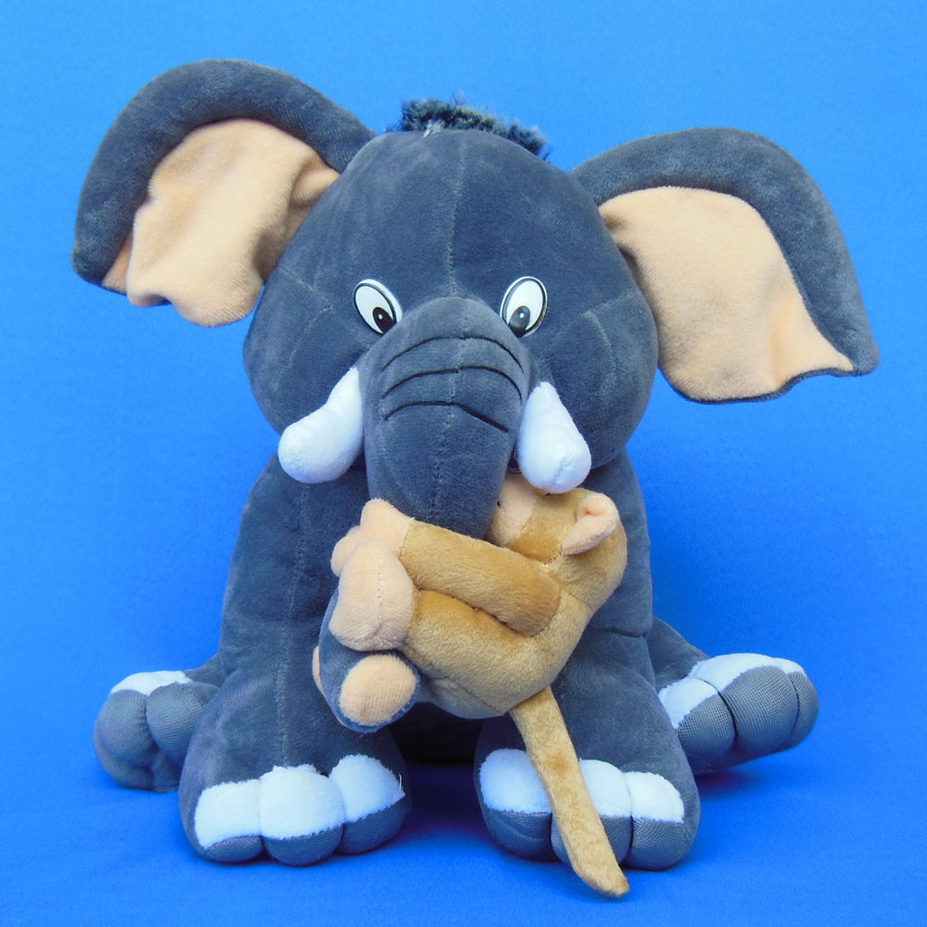 Elephant Holding Monkey Soft Plush Toy 32 cm - Chirukaanuka