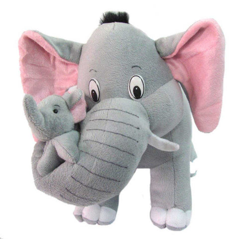 Grey Mother Elephant With Baby Stuffed Soft Toy - 32 Cm - Chirukaanuka