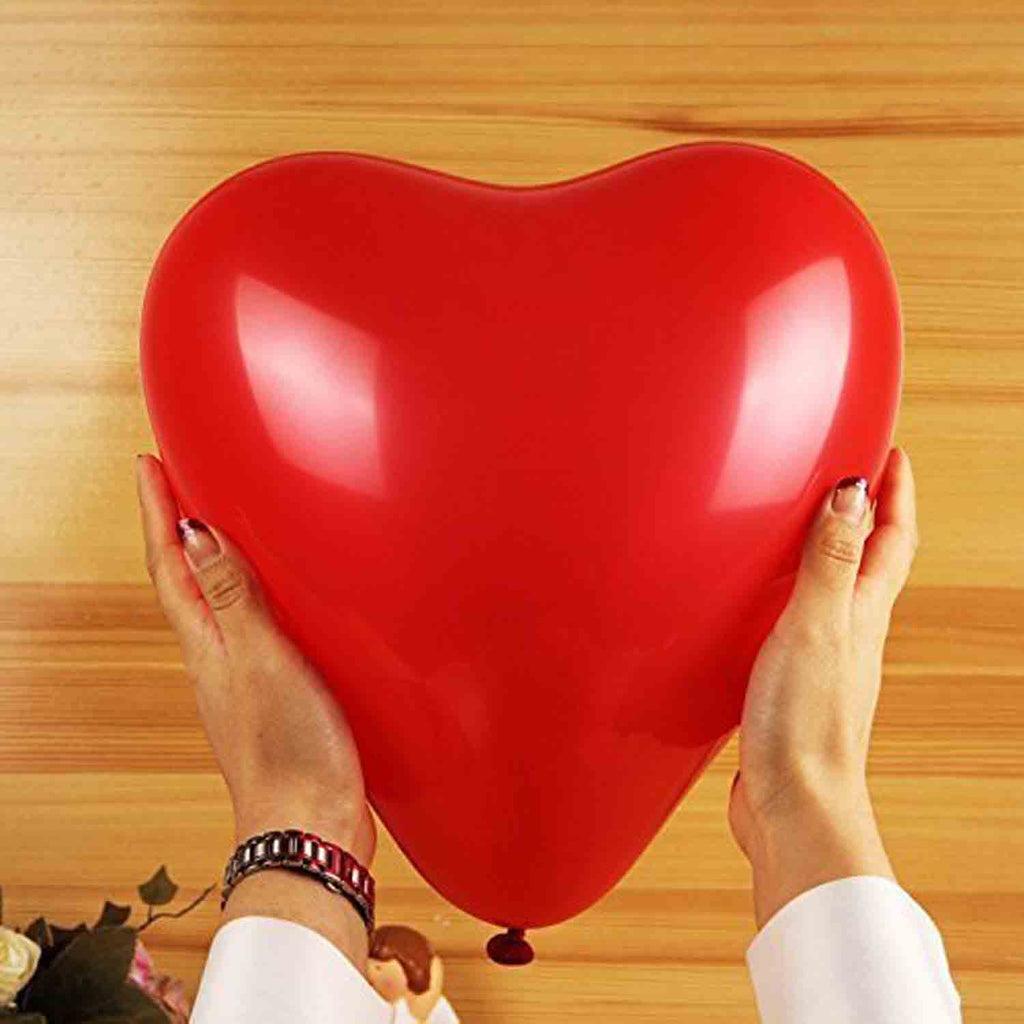 Heart Shape Red Balloons - Size 12 Inches (Pack of 30) - Chirukaanuka