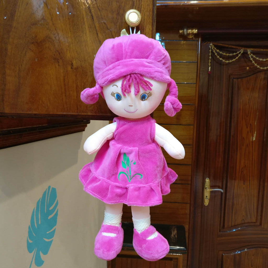 Baby Girl Doll Plush Dark Pink 36 cm - Chirukaanuka