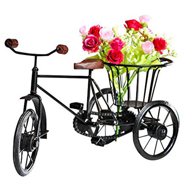 Wooden & Wrought Iron Small Miniature Tricycle Flower Rickshaw Vase - Chirukaanuka