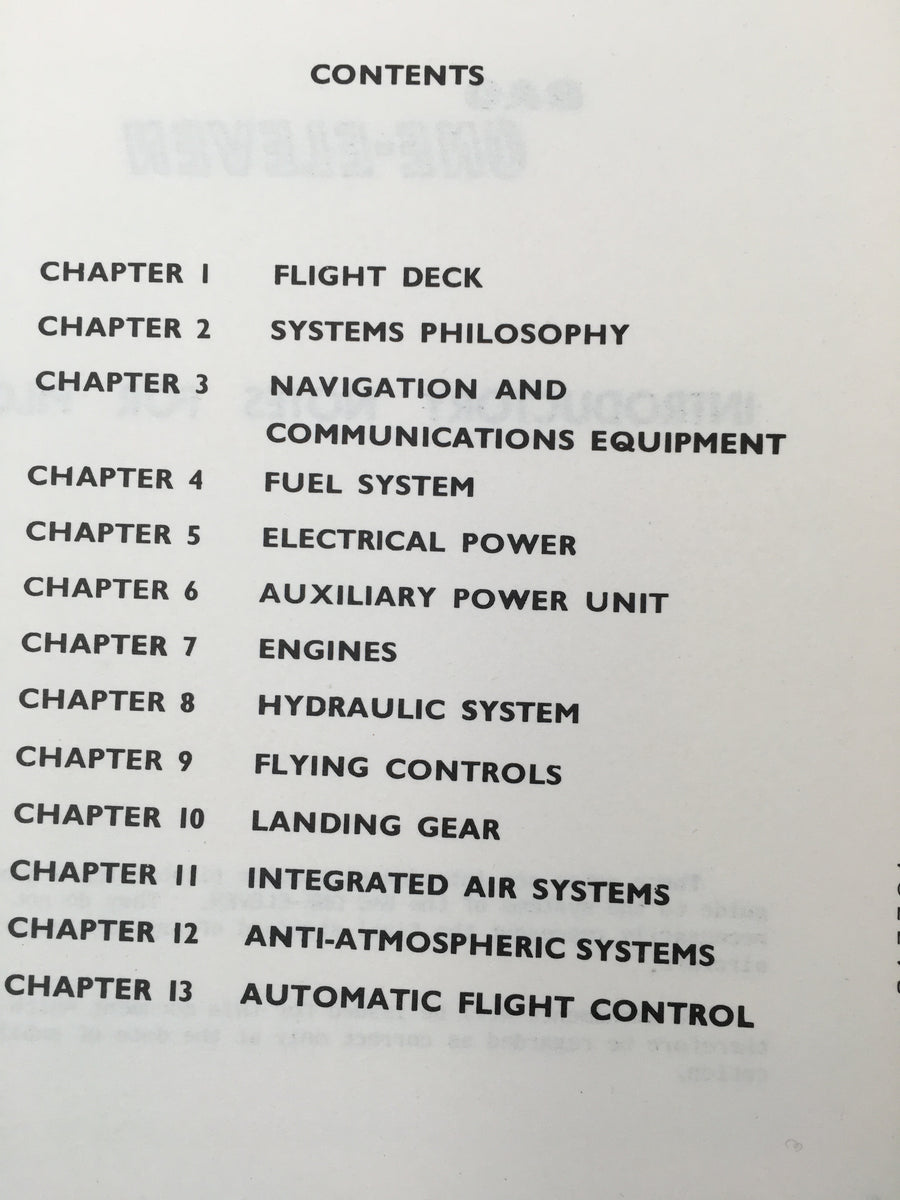 BAC ONE - ELEVEN : INTRODUCTORY NOTES for PILOTS