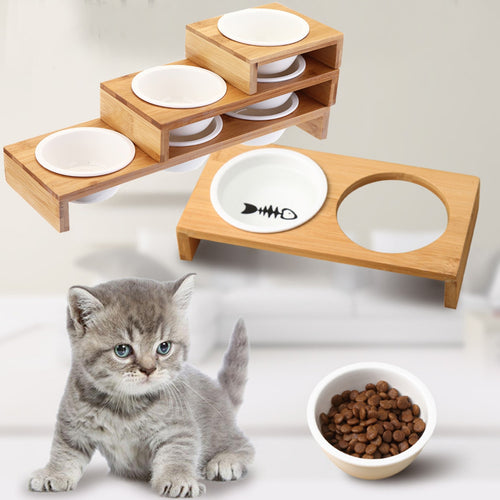 1/2/3 Bowls Cat Dog Feeders Bowl Ceramic Pet Food Tableware Water Bowl Bamboo Frame Antiskid Pet Supplies Dog Cat Feeding Bowl