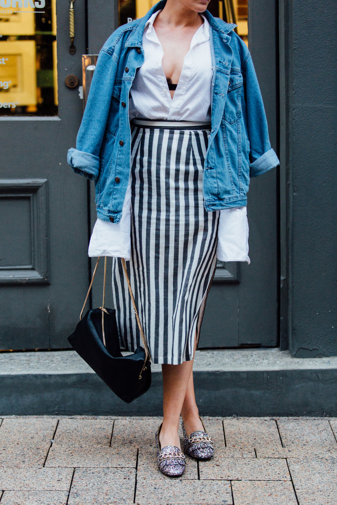 The Boyfriend Shirt Fashion Blog Midi Heel Style Tips