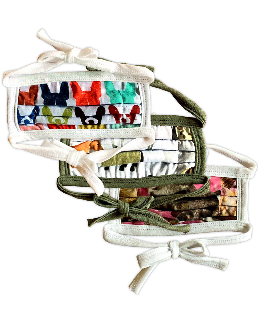 Pets Patterns String Tie Face Mask 3-Pack