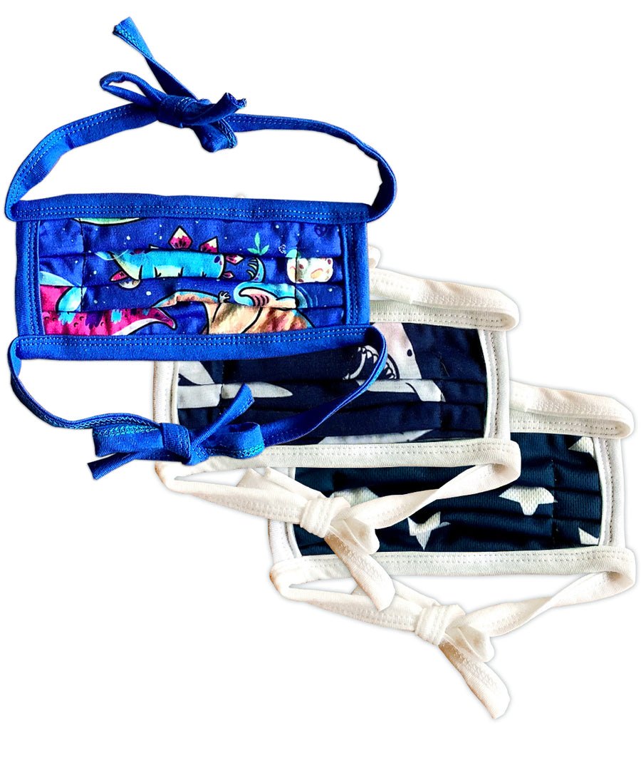 Blue Patterns String Tie Face Mask 3-Pack