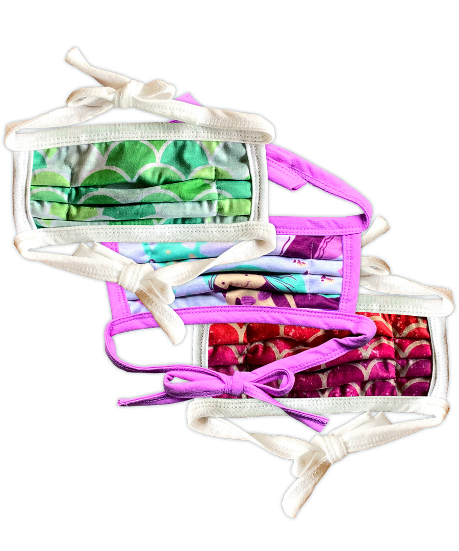 Mermaid Patterns String Tie Face Mask 3-Pack