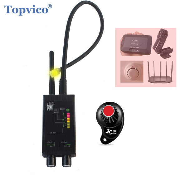 Topvico Pro Anti - Spy Bug Finder Wireless Camera Lens Hidden Signal Detector GPS Tracker RF GSM Devices Magnetic M8000 Scanner