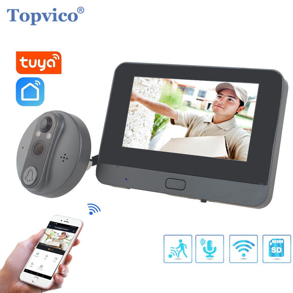 Topvico Tuya Doorbell Peephole Door Camera Wifi Doorbell Video Intercom 4.3