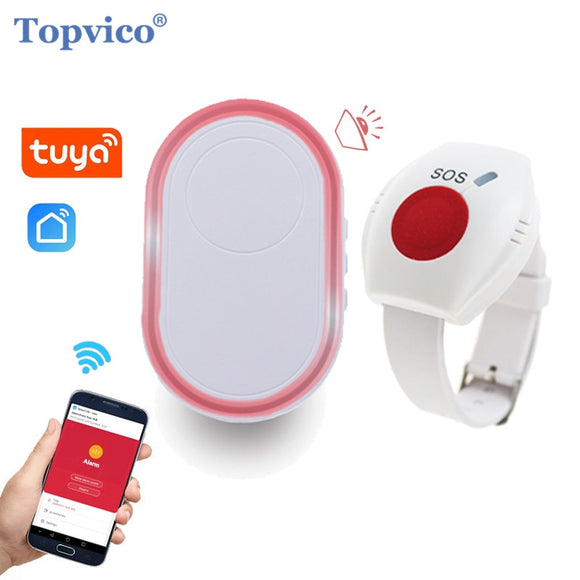 Topvico WIFI Panic Button for Elderly RF 433mhz SOS Bracelet Emergency Alarm Wireless Watch Call Old People Android IOS APP