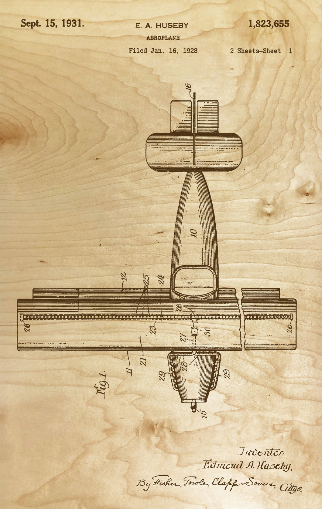 Aeroplane Patented 1928