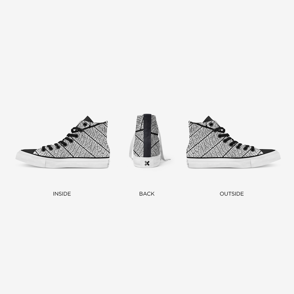 Panoramic view of the sneaker with the three different angles: inner, back and front side.