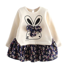 Load image into Gallery viewer, Toddler Baby Girl Cartoon Rabbit Bunny Floral Dress