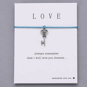 Love Heart Key Charm Bracelet