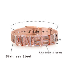 Load image into Gallery viewer, Pipitree Customize Name Stainless Steel DIY CZ Zircon Letter Bracelets Adjustable Buckle Charm Bracelet Bangle Women Men Jewelry