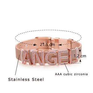 Pipitree Customize Name Stainless Steel DIY CZ Zircon Letter Bracelets Adjustable Buckle Charm Bracelet Bangle Women Men Jewelry