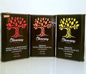 Tasting Set - Olivocracy Trio Organic & Biodynamic Extra Virgin Olive Oils Gift Set CLEARANCE! MILD EVOO (#THREE) BEST BEFORE 31.12.20
