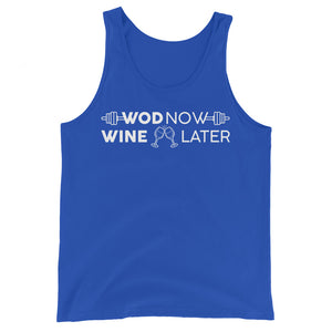 WOD NOW WINE LATER UNISEX TANK