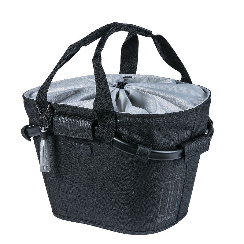 Basil Noir Carry All Front Basket Midnight Black