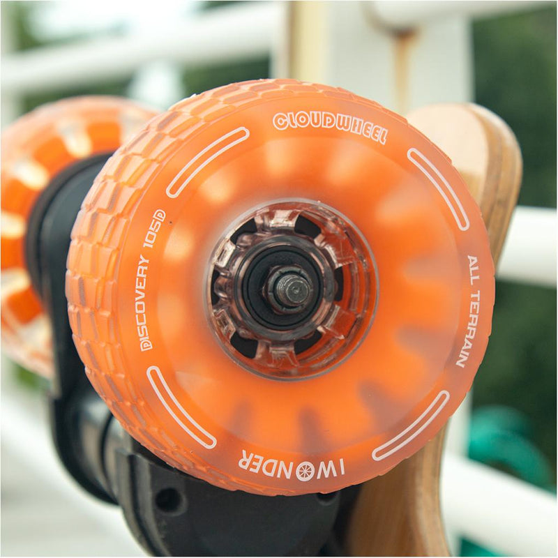 CloudWheel Discovery Urban All Terrain Off Road eSkateboard Wheels Orange 105mm Lifestyle