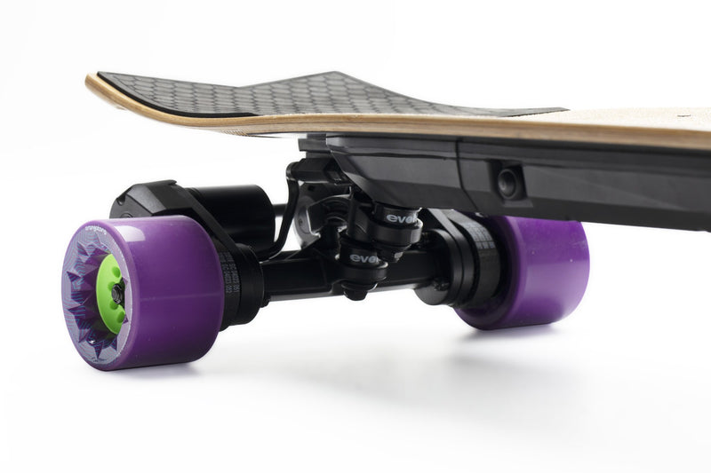 Evolve Stoke e Skateboard Orangatang Caguama 85mm Purple 83A Battery