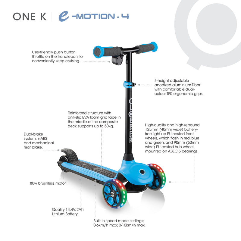 Globber ONE K E Motion 4 Kids e Scooter Info Blue