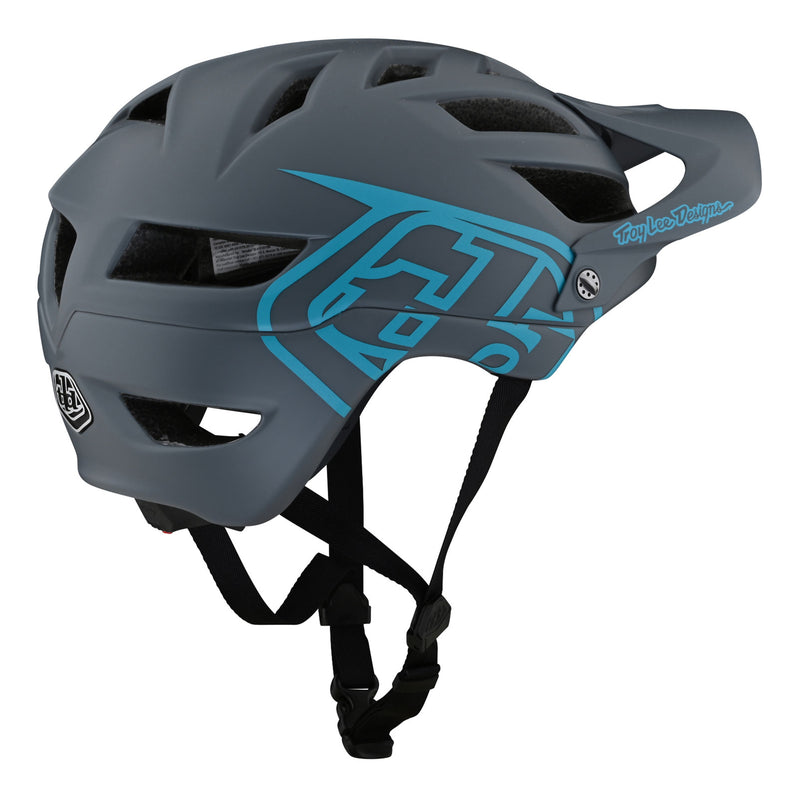 Troy Lee Designs A1 AS Drone Helmet - Grey/Blue Right Side
