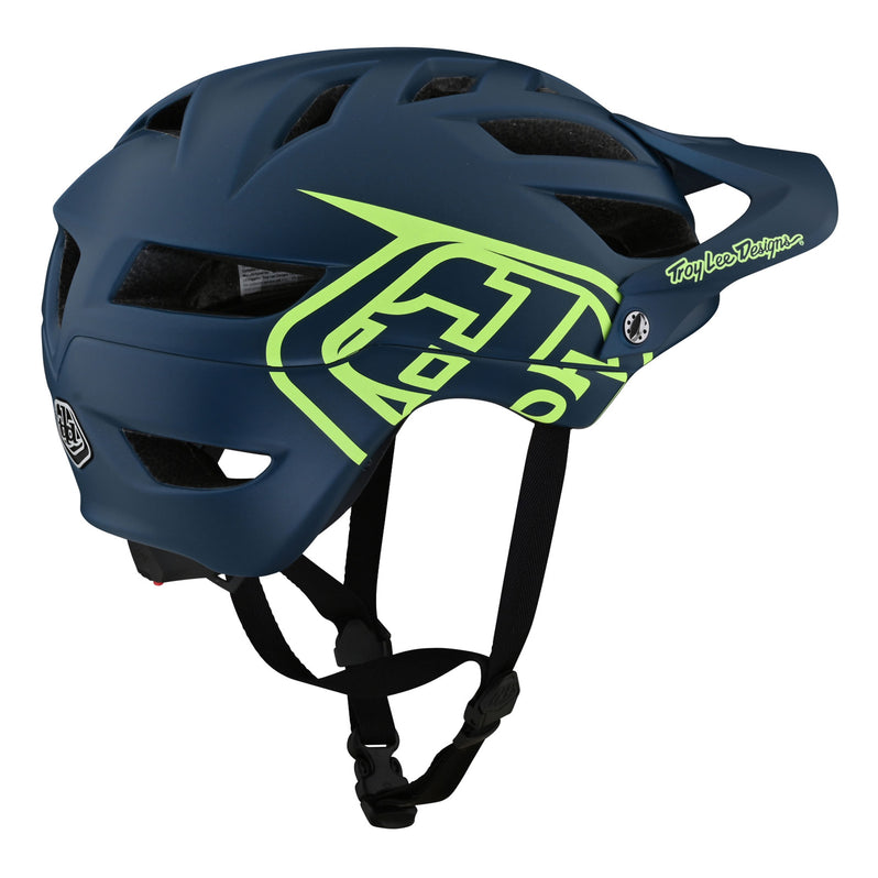 Troy Lee Designs A1 AS Drone Helmet - Marine/Green Right Side