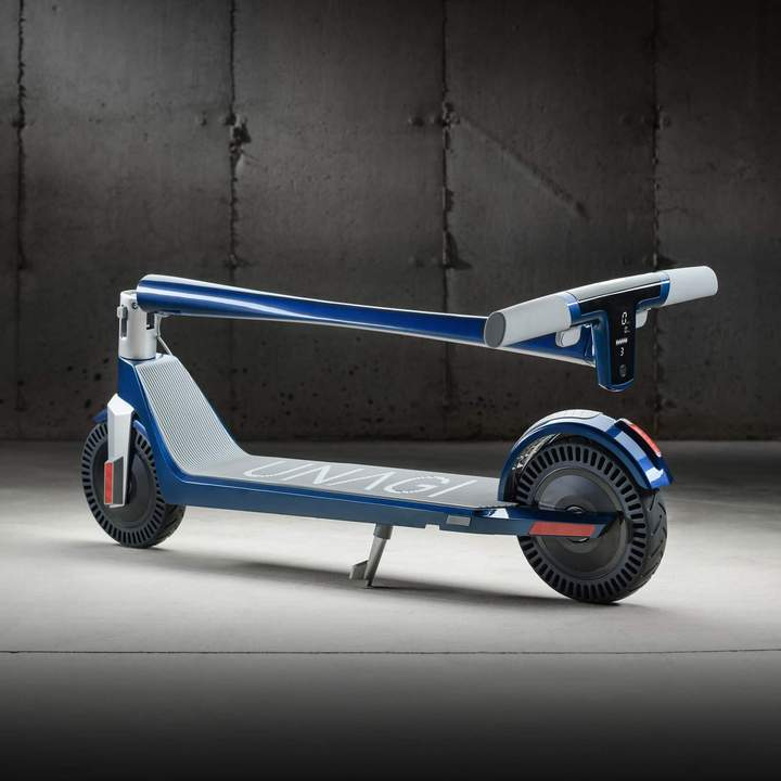 Unagi E450-V3 Dual Motor Electric Scooter Electric Blue Lifestyle Folded