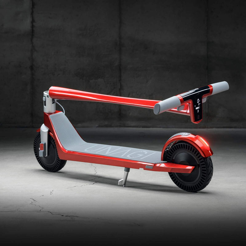 Unagi E450-V3 Dual Motor Electric Scooter Scarlet Fire Lifestyle Folded