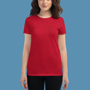 Geel geborduurd ZUIG rietje shirt - Dames - Shopping Out Loud