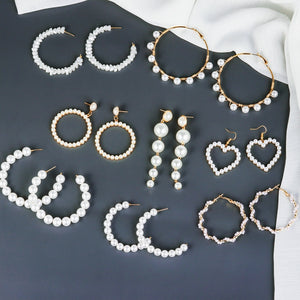 Big Pearl Hoop Earrings