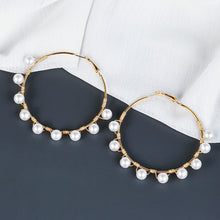 Load image into Gallery viewer, Closed Pearl Hoop  Earrings