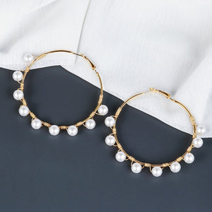 Closed Pearl Hoop  Earrings
