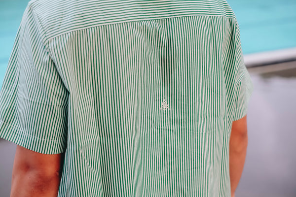 Kemeja Bowling Neck - Boww Strip Shirt Green