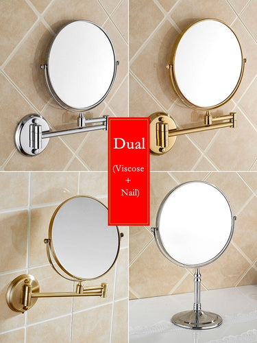 Houmaid Bathroom Fixture Shower Room Makeup Bath Mirror Cosmetology Copper Mirror Two-sided Mirror For Holtel