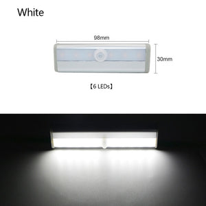 6/10 LEDs PIR LED Motion Sensor Light Cupboard Wardrobe Bed Lamp LED Under Cabinet Night Light For Closet Stairs Kitchen