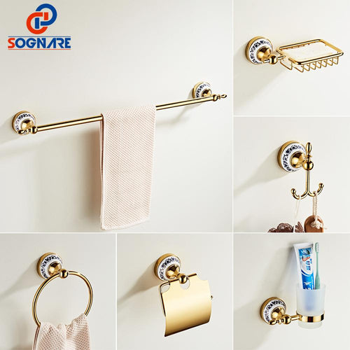 Gold Bathroom Accessories Ceramics Sets Bathroom Towel Holder for Wall Toilet Paper Holder Toilet Brush Holder Bathroom Fixtures