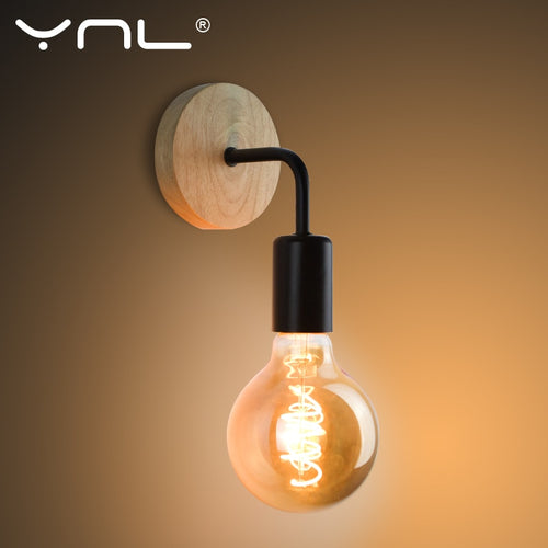 Wood Wall Lamp Vintage Sconce Wall Lights Fixture E27 110V 220V Bedside Retro Industrial Dining Room Bedroom Indoor Lighting