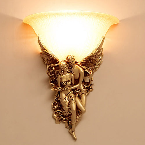 Modern LED Angel Wall Lamp Glass Lovers Wedding Lighting Fixture Resin Wall Sconce For Bedroom Corridor Art Home Lighting G733