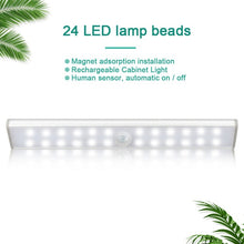 Load image into Gallery viewer, LED Under Cabinet Light Closets PIR Motion Sensor Lamp 24 40 60 LED Wireless USB Rechargeable Kitchen Lights for Wardrobe Room