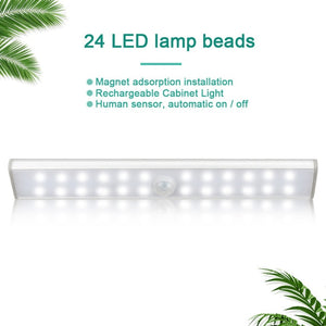 LED Under Cabinet Light Closets PIR Motion Sensor Lamp 24 40 60 LED Wireless USB Rechargeable Kitchen Lights for Wardrobe Room
