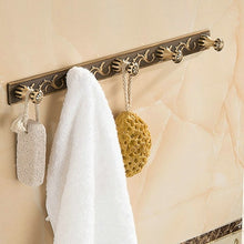 Load image into Gallery viewer, Antique Brushed Carved Aluminum Bathroom Fixture Bath Hardware Set Towel Shelf Towel Bar Paper Holder Cloth Hook AA03 Series