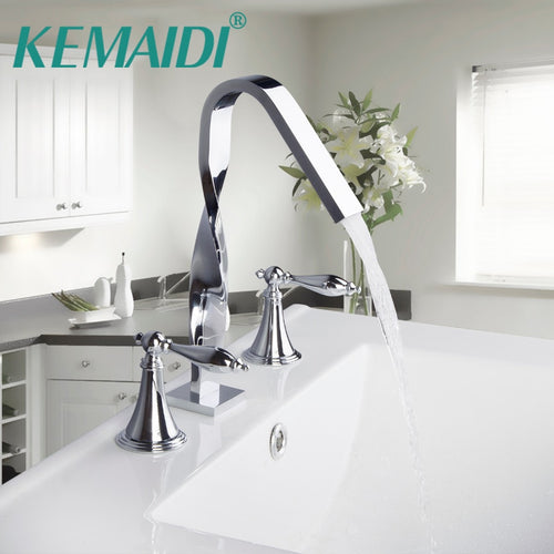 KEMAIDI New Design Construction & Real Estate Deck Mounted Two Handles 3 Pcs Set Bath Fixture Bath Hardware Sets Bathroom Faucet