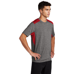 Sport-Tek ® PosiCharge ® Tri-Blend Wicking Draft Tee - True Red/ Dark Grey Heather
