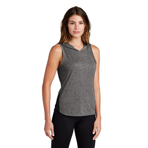 Sport-Tek ® Ladies PosiCharge ® Tri-Blend Wicking Draft Hoodie Tank - Black/ Dark Grey Heather