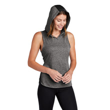 Load image into Gallery viewer, Sport-Tek ® Ladies PosiCharge ® Tri-Blend Wicking Draft Hoodie Tank - Black/ Dark Grey Heather