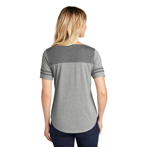 Sport-Tek ® Ladies PosiCharge ® Tri-Blend Wicking Fan Tee - Dark Grey Heather/ Light Grey Heather