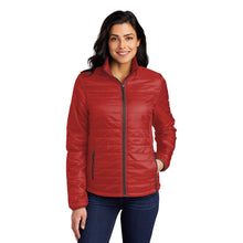 Load image into Gallery viewer, Port Authority ® Ladies Packable Puffy Jacket - Fire Red/ Graphite